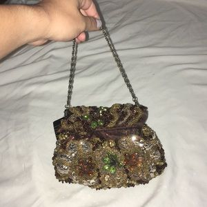 Handbags - Small sequined and beaded bronze purse